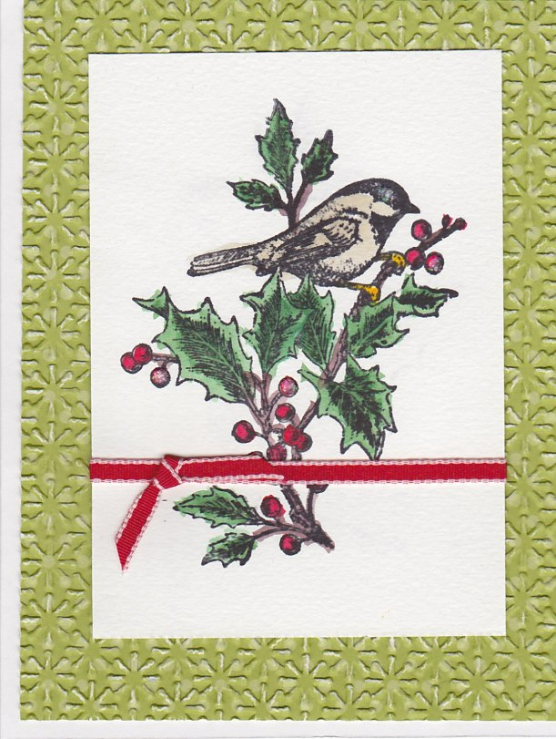 Black Capped Chickadee Christmas Card